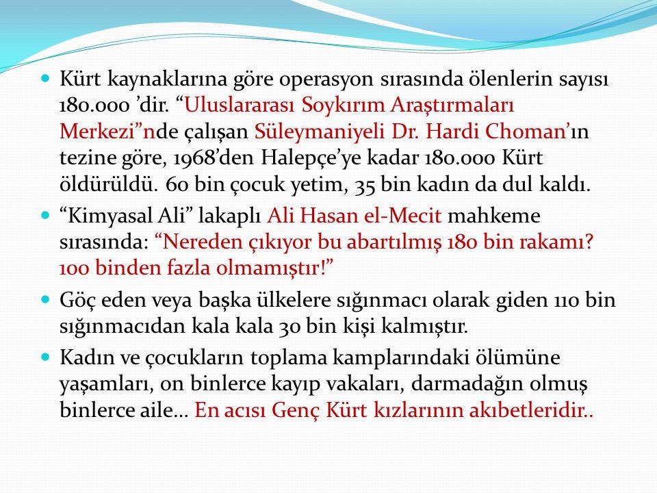 Kürt kaynaklarına göre operasyon sırasında ölenlerin sayısı 180.000 'dir.
