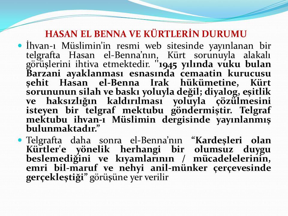 HASAN EL BENNA VE KÜRTLERİN DURUMU İhvan-ı Müslimin'in resmi web sitesinde yayınlanan bir telgrafta Hasan el-Benna'nın, Kürt sorunuyla alakalı görüşlerini ihtiva etmektedir.