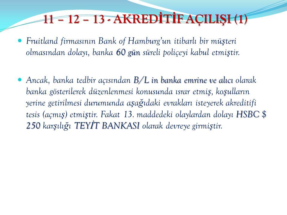 11 – 12 – 13 - AKRED İ T İ F AÇILI Ş I (1) 60 gün Fruitland firmasının Bank of Hamburg'un itibarlı bir mü ş teri olmasından dolayı, banka 60 gün sürel