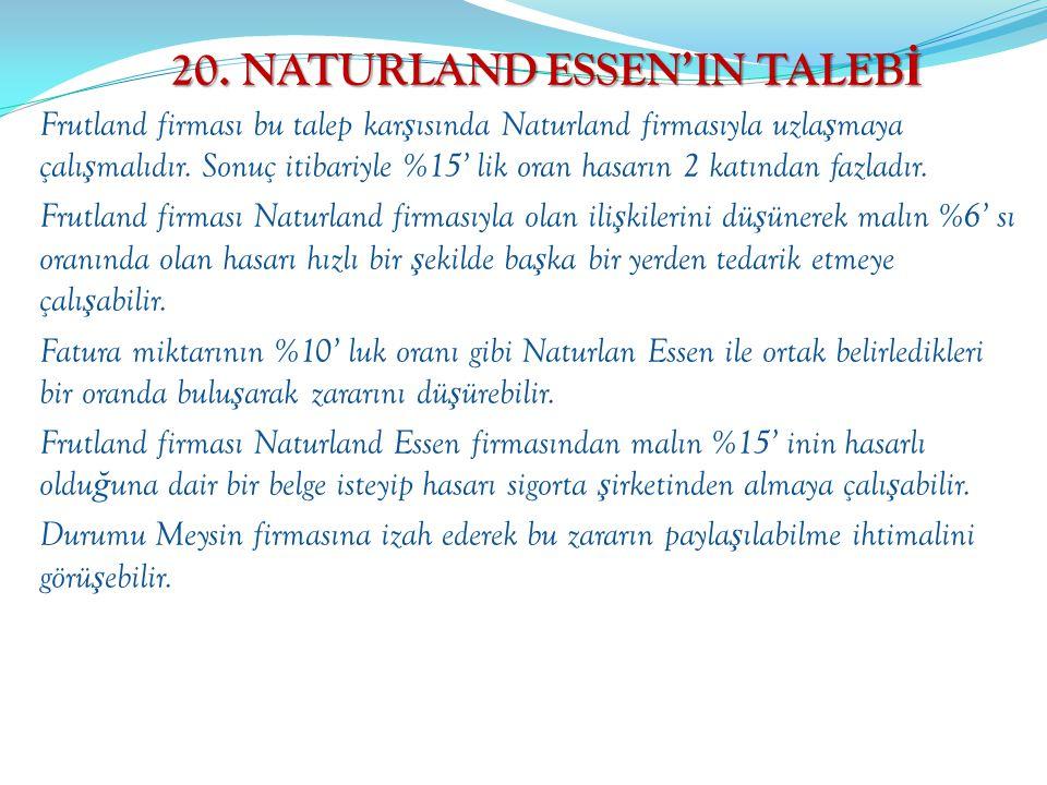 20. NATURLAND ESSEN'IN TALEB İ Frutland firması bu talep kar ş ısında Naturland firmasıyla uzla ş maya çalı ş malıdır. Sonuç itibariyle %15' lik oran