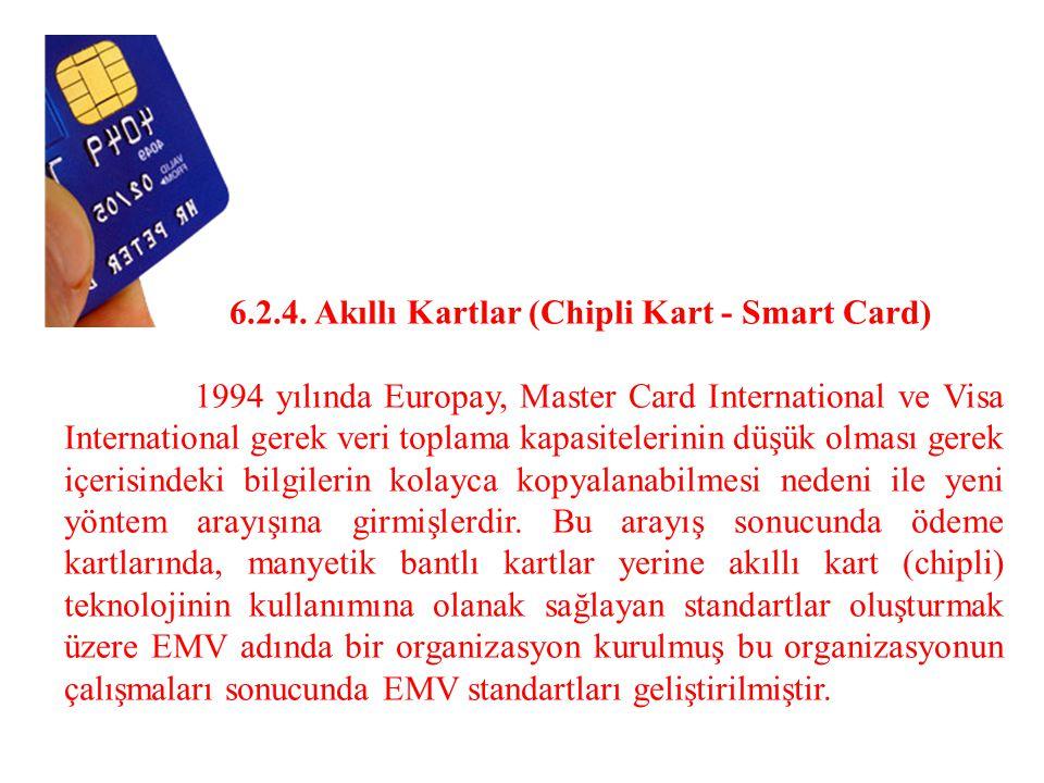 6.2.4. Akıllı Kartlar (Chipli Kart - Smart Card) 1994 yılında Europay, Master Card International ve Visa International gerek veri toplama kapasiteleri