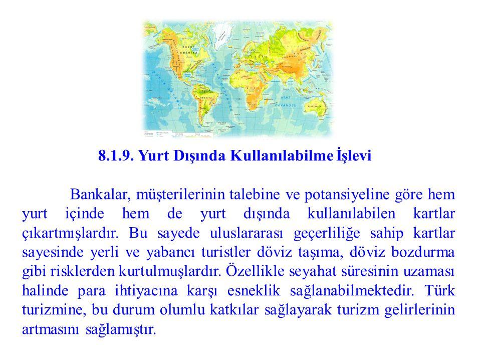 8.1.9. Yurt Dışında Kullanılabilme İşlevi Bankalar, müşterilerinin talebine ve potansiyeline göre hem yurt içinde hem de yurt dışında kullanılabilen k