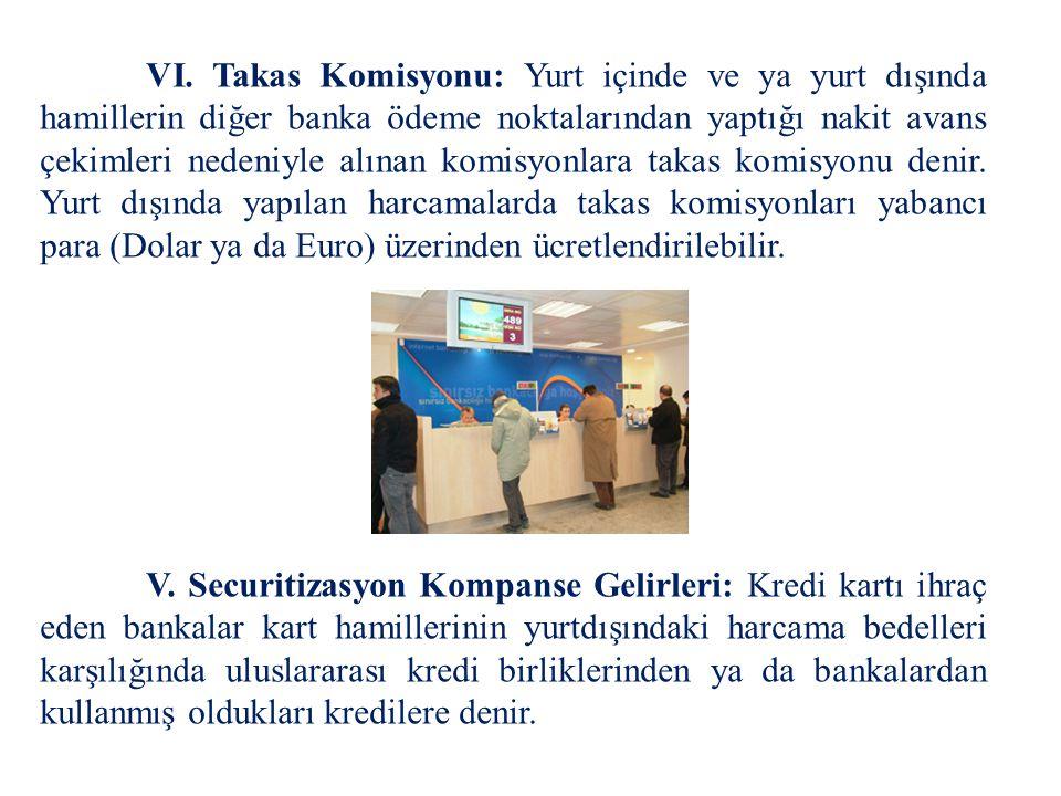 VI. Takas Komisyonu: Yurt içinde ve ya yurt dışında hamillerin diğer banka ödeme noktalarından yaptığı nakit avans çekimleri nedeniyle alınan komisyon