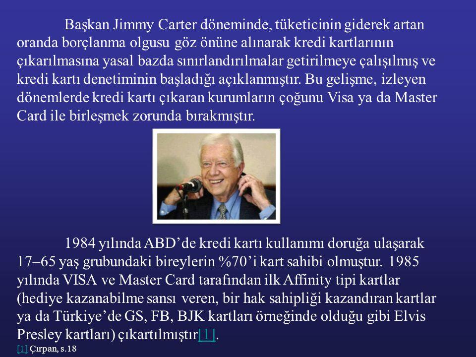 Başkan Jimmy Carter döneminde, tüketicinin giderek artan oranda borçlanma olgusu göz önüne alınarak kredi kartlarının çıkarılmasına yasal bazda sınırl