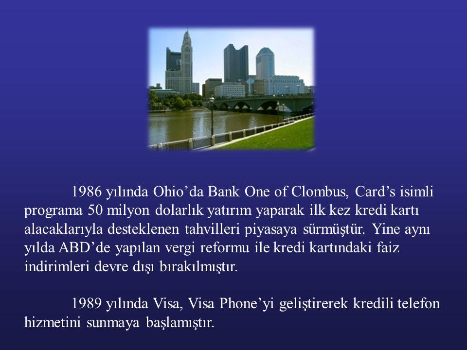 1986 yılında Ohio'da Bank One of Clombus, Card's isimli programa 50 milyon dolarlık yatırım yaparak ilk kez kredi kartı alacaklarıyla desteklenen tahv