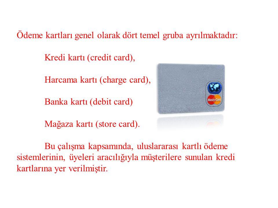 Ödeme kartları genel olarak dört temel gruba ayrılmaktadır: Kredi kartı (credit card), Harcama kartı (charge card), Banka kartı (debit card) Mağaza ka