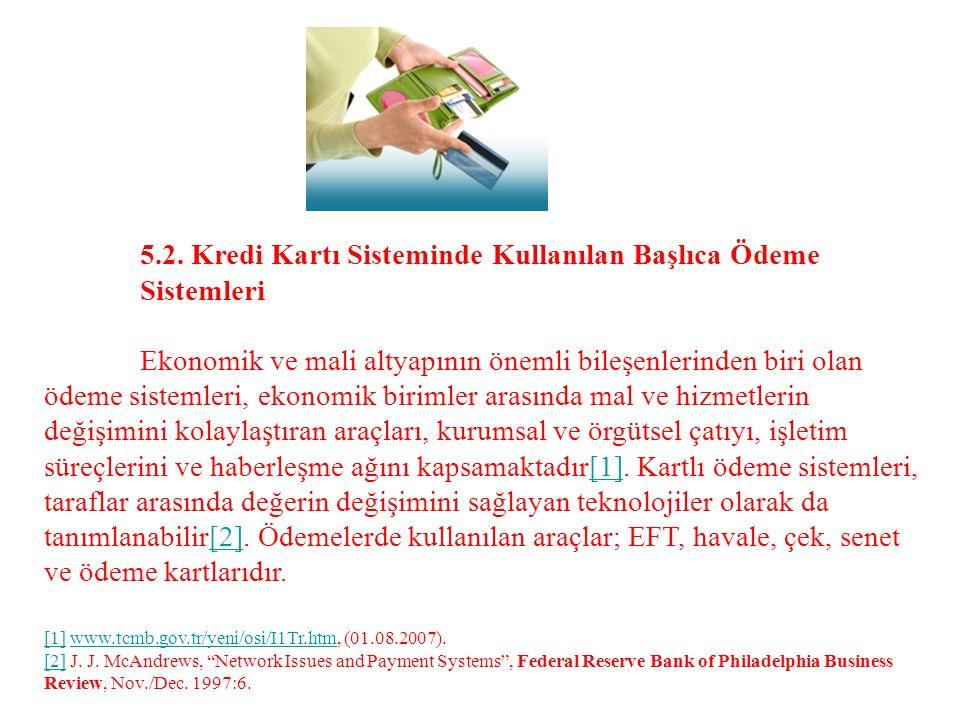5.2. Kredi Kartı Sisteminde Kullanılan Başlıca Ödeme Sistemleri Ekonomik ve mali altyapının önemli bileşenlerinden biri olan ödeme sistemleri, ekonomi