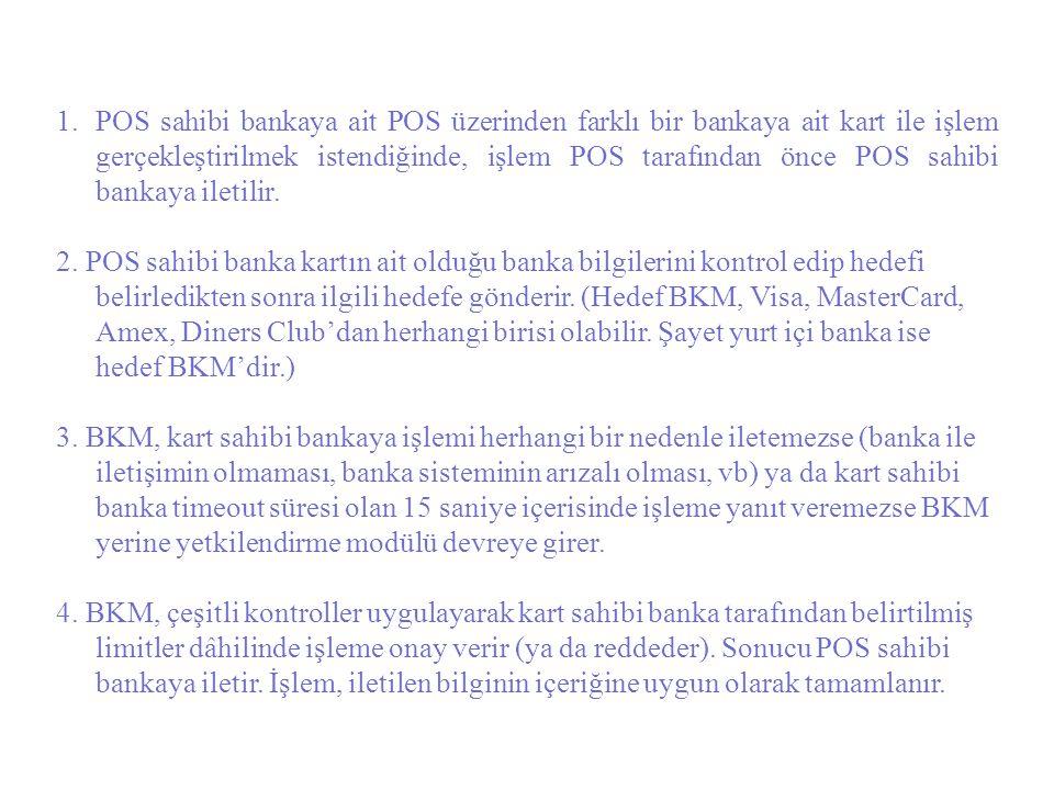 1.POS sahibi bankaya ait POS üzerinden farklı bir bankaya ait kart ile işlem gerçekleştirilmek istendiğinde, işlem POS tarafından önce POS sahibi bank