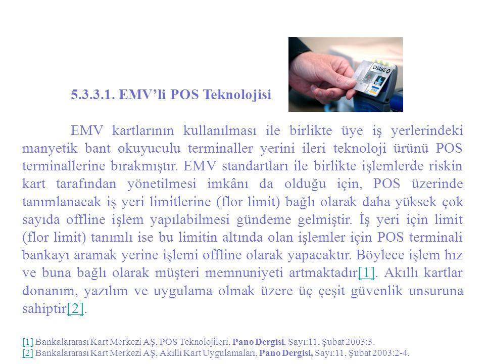 5.3.3.1. EMV'li POS Teknolojisi EMV kartlarının kullanılması ile birlikte üye iş yerlerindeki manyetik bant okuyuculu terminaller yerini ileri teknolo