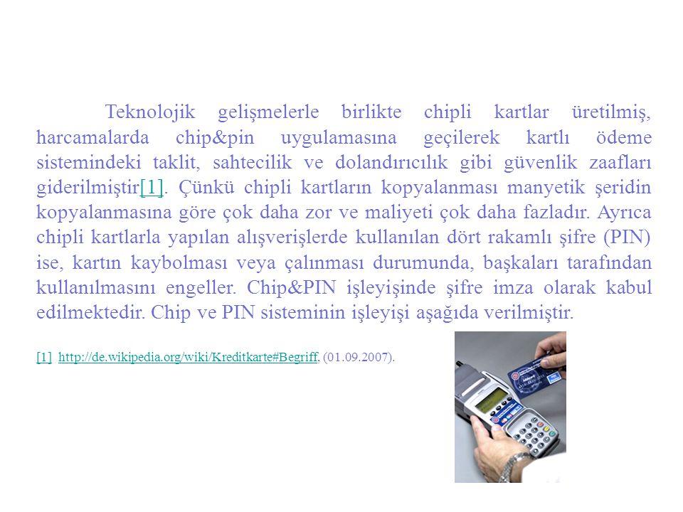 Teknolojik gelişmelerle birlikte chipli kartlar üretilmiş, harcamalarda chip&pin uygulamasına geçilerek kartlı ödeme sistemindeki taklit, sahtecilik v