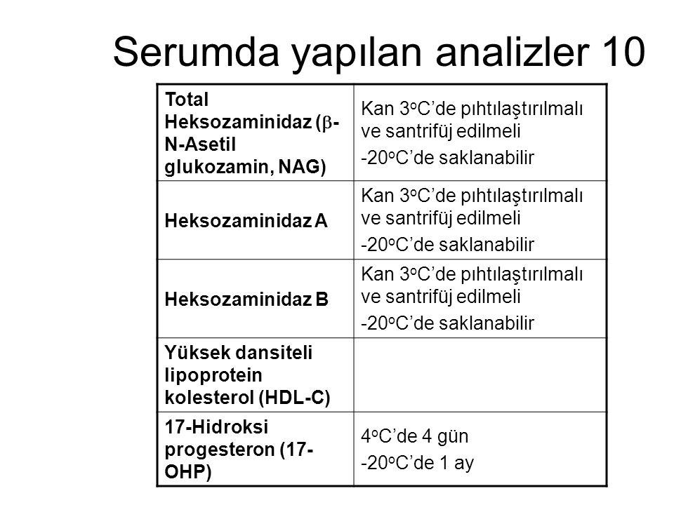 Serumda yapılan analizler 10 Total Heksozaminidaz (  - N-Asetil glukozamin, NAG) Kan 3 o C'de pıhtılaştırılmalı ve santrifüj edilmeli -20 o C'de sakl