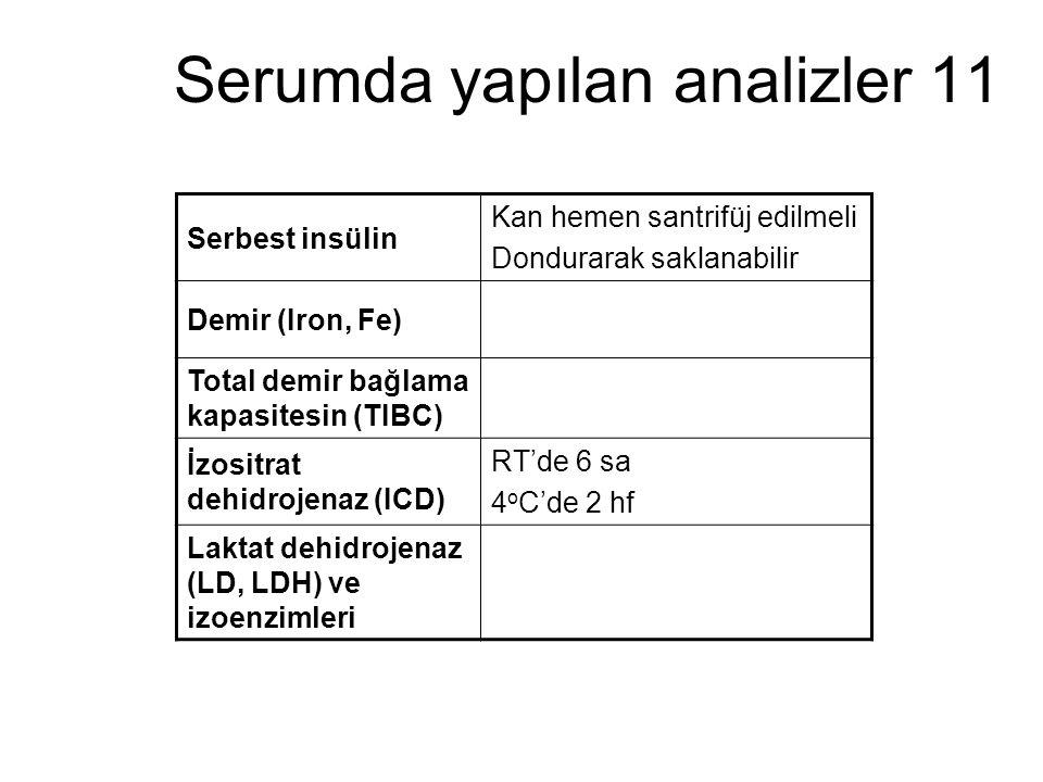 Serumda yapılan analizler 11 Serbest insülin Kan hemen santrifüj edilmeli Dondurarak saklanabilir Demir (Iron, Fe) Total demir bağlama kapasitesin (TI