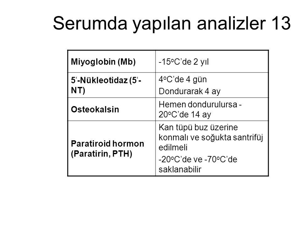 Serumda yapılan analizler 13 Miyoglobin (Mb)-15 o C'de 2 yıl 5 ' -Nükleotidaz (5 ' - NT) 4 o C'de 4 gün Dondurarak 4 ay Osteokalsin Hemen dondurulursa