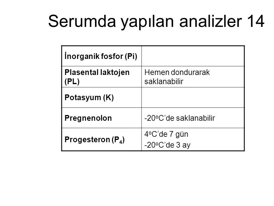 Serumda yapılan analizler 14 İnorganik fosfor (Pi) Plasental laktojen (PL) Hemen dondurarak saklanabilir Potasyum (K) Pregnenolon-20 o C'de saklanabil