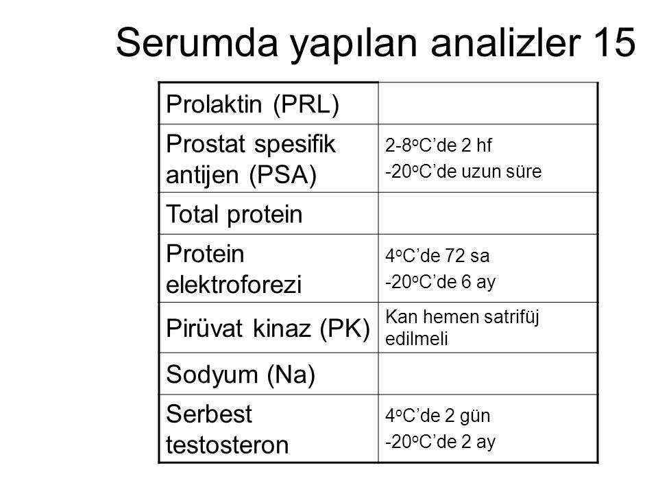 Serumda yapılan analizler 15 Prolaktin (PRL) Prostat spesifik antijen (PSA) 2-8 o C'de 2 hf -20 o C'de uzun süre Total protein Protein elektroforezi 4