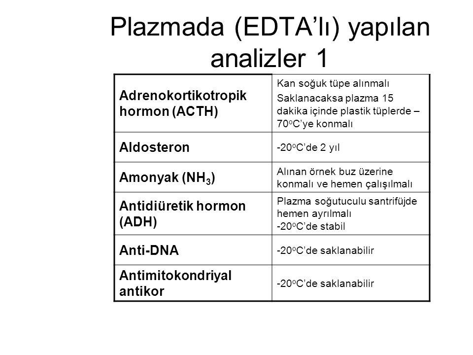Plazmada (EDTA'lı) yapılan analizler 1 Adrenokortikotropik hormon (ACTH) Kan soğuk tüpe alınmalı Saklanacaksa plazma 15 dakika içinde plastik tüplerde
