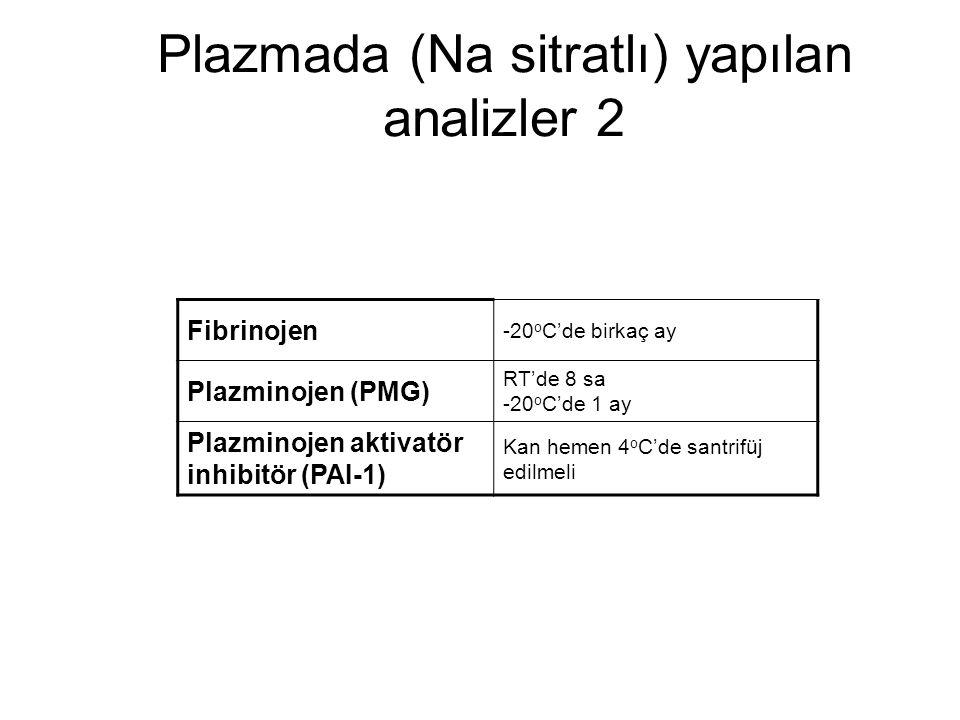 Plazmada (Na sitratlı) yapılan analizler 2 Fibrinojen -20 o C'de birkaç ay Plazminojen (PMG) RT'de 8 sa -20 o C'de 1 ay Plazminojen aktivatör inhibitö