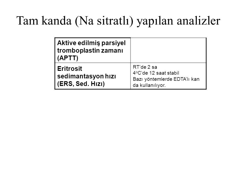 Tam kanda (Na sitratlı) yapılan analizler Aktive edilmiş parsiyel tromboplastin zamanı (APTT) Eritrosit sedimantasyon hızı (ERS, Sed. Hızı) RT'de 2 sa