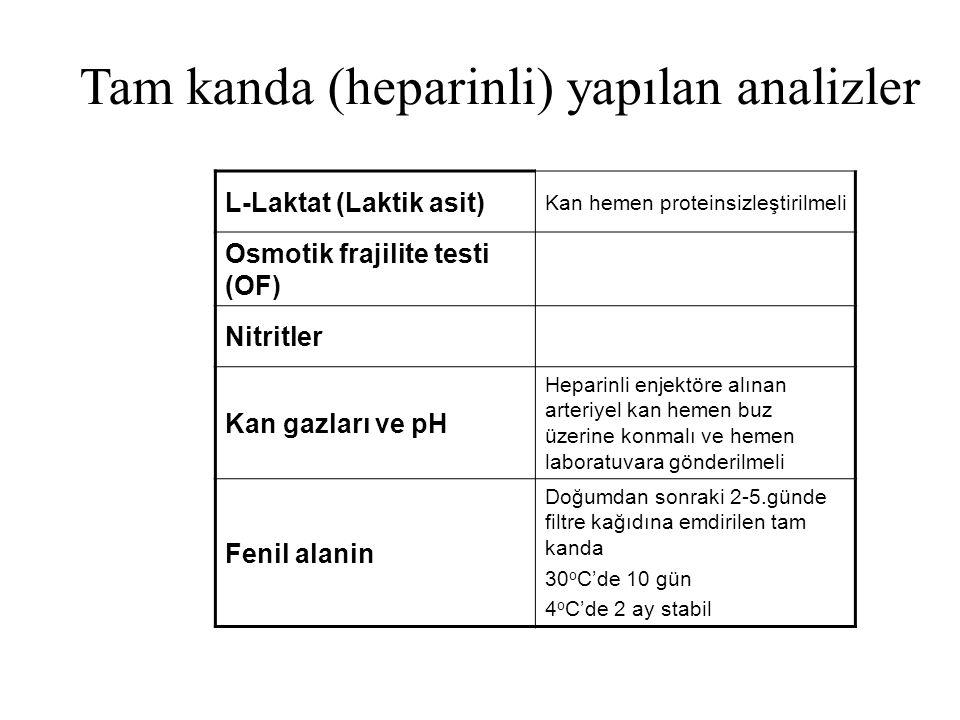 Tam kanda (heparinli) yapılan analizler L-Laktat (Laktik asit) Kan hemen proteinsizleştirilmeli Osmotik frajilite testi (OF) Nitritler Kan gazları ve