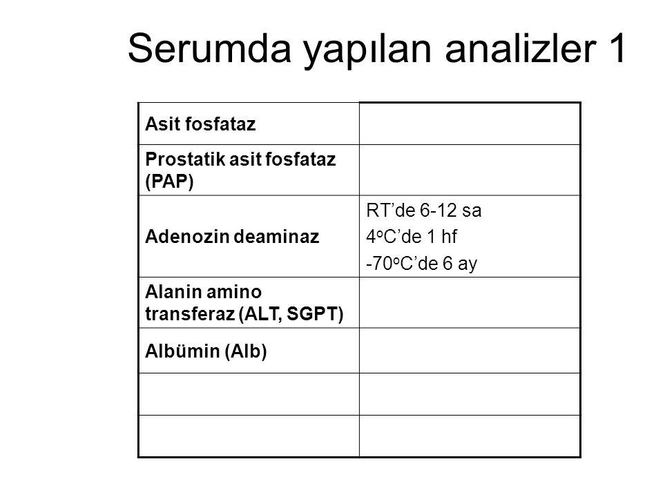 Serumda yapılan analizler 1 Asit fosfataz Prostatik asit fosfataz (PAP) Adenozin deaminaz RT'de 6-12 sa 4 o C'de 1 hf -70 o C'de 6 ay Alanin amino tra