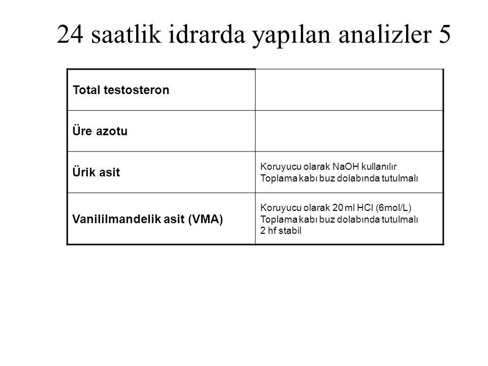 24 saatlik idrarda yapılan analizler 5 Total testosteron Üre azotu Ürik asit Koruyucu olarak NaOH kullanılır Toplama kabı buz dolabında tutulmalı Vani