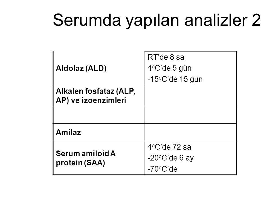 Serumda yapılan analizler 2 Aldolaz (ALD) RT'de 8 sa 4 o C'de 5 gün -15 o C'de 15 gün Alkalen fosfataz (ALP, AP) ve izoenzimleri Amilaz Serum amiloid