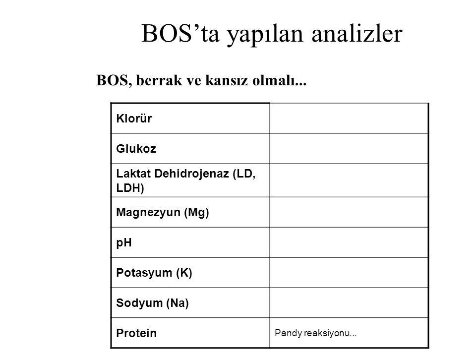 BOS'ta yapılan analizler Klorür Glukoz Laktat Dehidrojenaz (LD, LDH) Magnezyun (Mg) pH Potasyum (K) Sodyum (Na) Protein Pandy reaksiyonu... BOS, berra