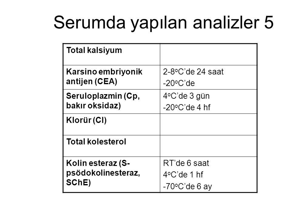 Serumda yapılan analizler 5 Total kalsiyum Karsino embriyonik antijen (CEA) 2-8 o C'de 24 saat -20 o C'de Seruloplazmin (Cp, bakır oksidaz) 4 o C'de 3