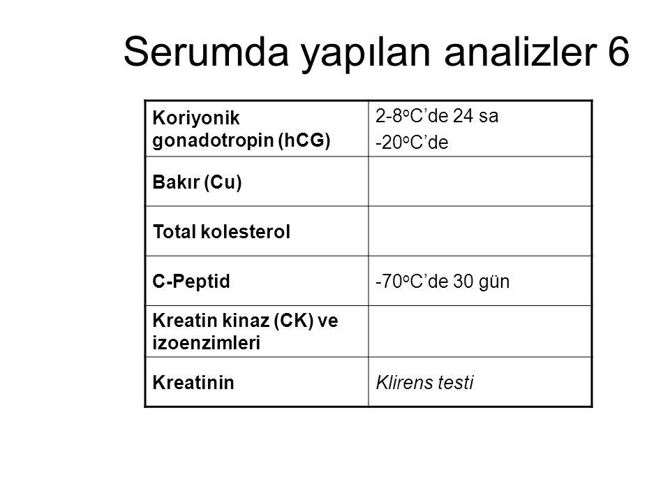 Serumda yapılan analizler 6 Koriyonik gonadotropin (hCG) 2-8 o C'de 24 sa -20 o C'de Bakır (Cu) Total kolesterol C-Peptid-70 o C'de 30 gün Kreatin kin