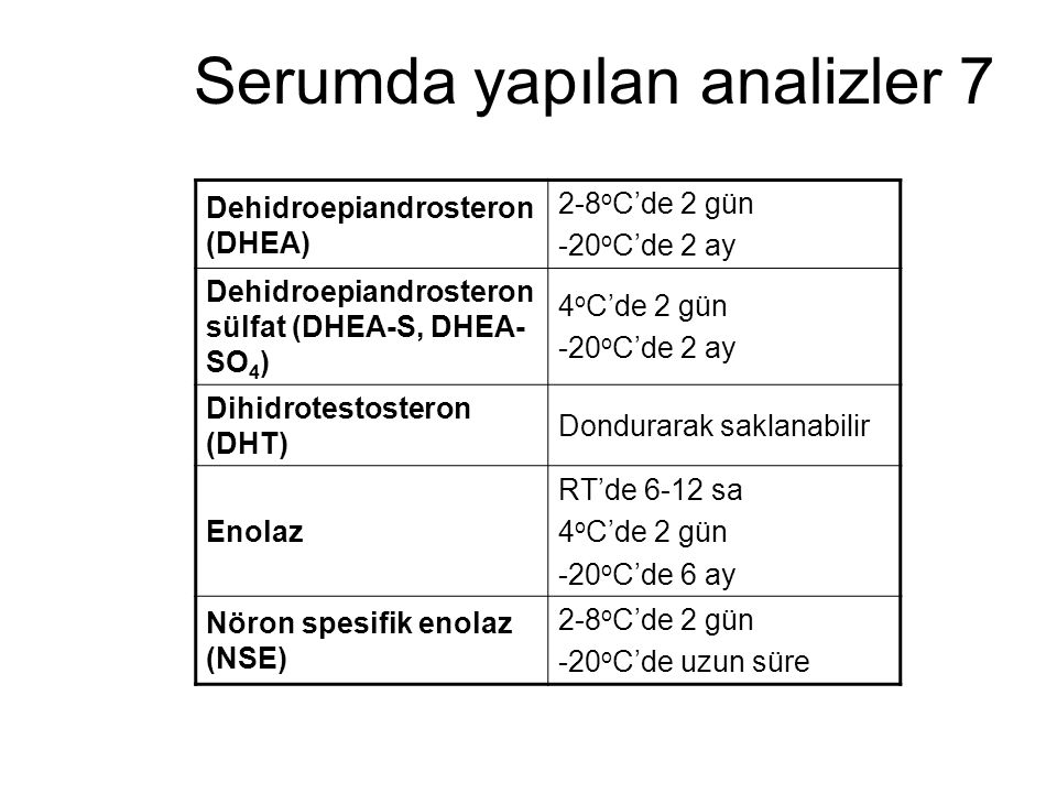 Serumda yapılan analizler 7 Dehidroepiandrosteron (DHEA) 2-8 o C'de 2 gün -20 o C'de 2 ay Dehidroepiandrosteron sülfat (DHEA-S, DHEA- SO 4 ) 4 o C'de