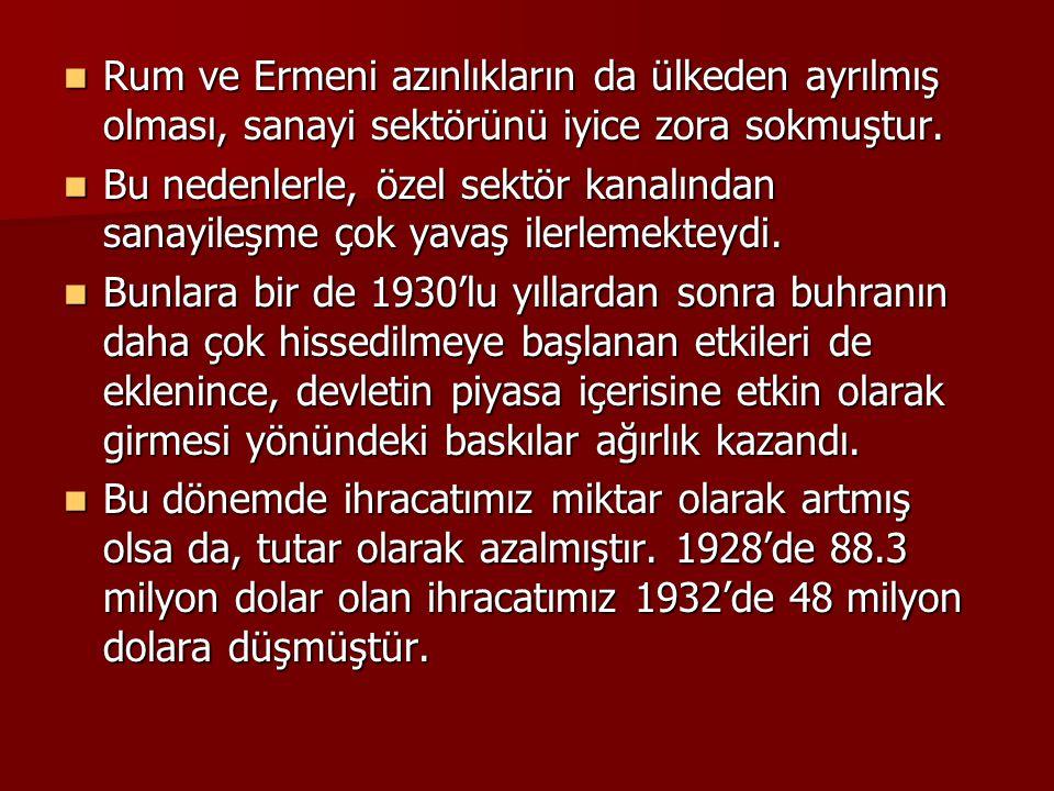 Rum ve Ermeni azınlıkların da ülkeden ayrılmış olması, sanayi sektörünü iyice zora sokmuştur. Rum ve Ermeni azınlıkların da ülkeden ayrılmış olması, s