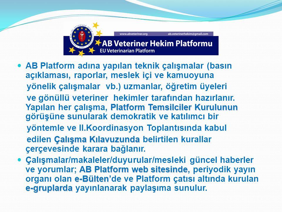AB Platform adına yapılan teknik çalışmalar (basın açıklaması, raporlar, meslek içi ve kamuoyuna yönelik çalışmalar vb.) uzmanlar, öğretim üyeleri Pla