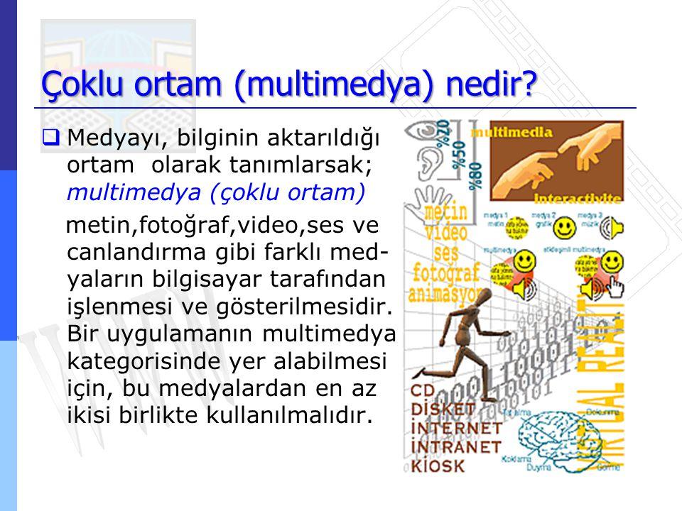 Çoklu ortam (multimedya) nedir?  Medyayı, bilginin aktarıldığı ortam olarak tanımlarsak; multimedya (çoklu ortam) metin,fotoğraf,video,ses ve canland