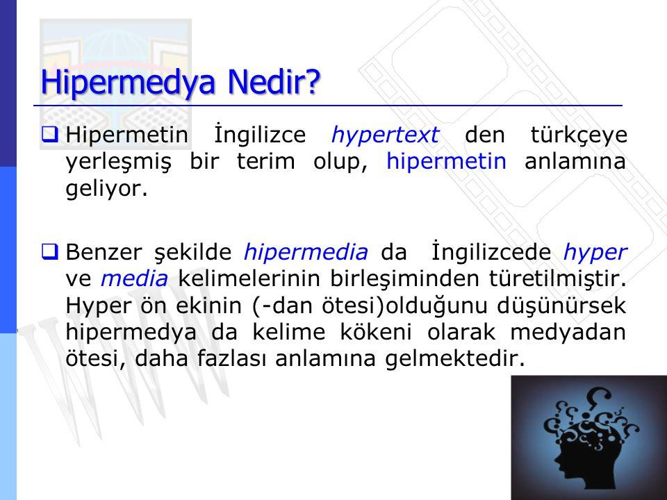 Hipermedya Nedir?  Hipermetin İngilizce hypertext den türkçeye yerleşmiş bir terim olup, hipermetin anlamına geliyor.  Benzer şekilde hipermedia da