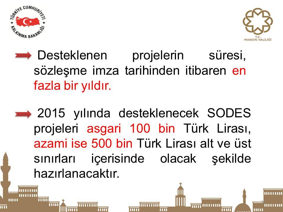 21 Desteklenen projelerin süresi, sözleşme imza tarihinden itibaren en fazla bir yıldır. 2015 yılında desteklenecek SODES projeleri asgari 100 bin Tür