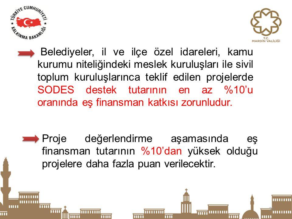 22 Belediyeler, il ve ilçe özel idareleri, kamu kurumu niteliğindeki meslek kuruluşları ile sivil toplum kuruluşlarınca teklif edilen projelerde SODES