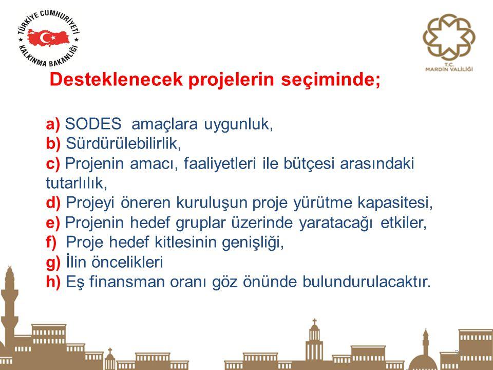23 Desteklenecek projelerin seçiminde; a) SODES amaçlara uygunluk, b) Sürdürülebilirlik, c) Projenin amacı, faaliyetleri ile bütçesi arasındaki tutarl