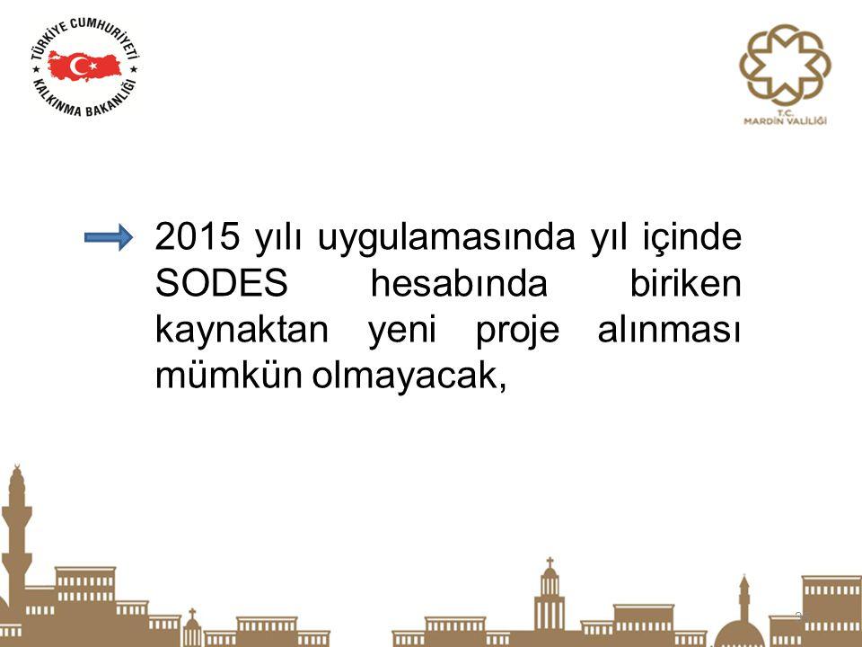 35 2015 yılı uygulamasında yıl içinde SODES hesabında biriken kaynaktan yeni proje alınması mümkün olmayacak,