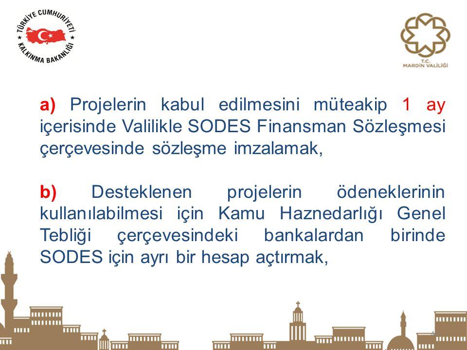 40 a) Projelerin kabul edilmesini müteakip 1 ay içerisinde Valilikle SODES Finansman Sözleşmesi çerçevesinde sözleşme imzalamak, b) Desteklenen projel
