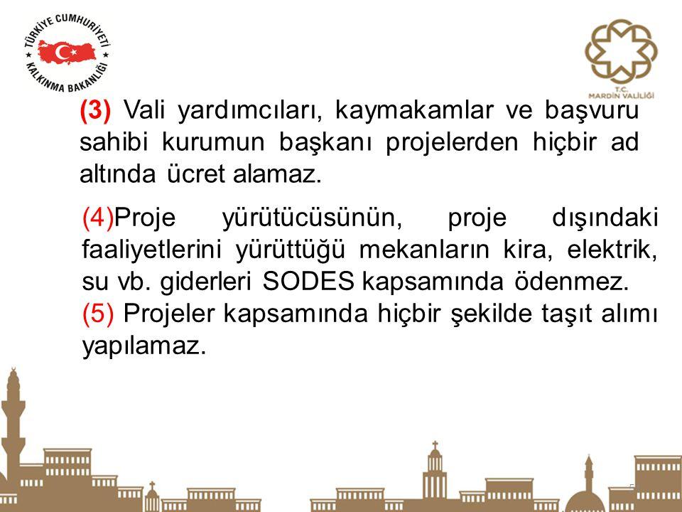 51 (4)Proje yürütücüsünün, proje dışındaki faaliyetlerini yürüttüğü mekanların kira, elektrik, su vb. giderleri SODES kapsamında ödenmez. (5) Projeler