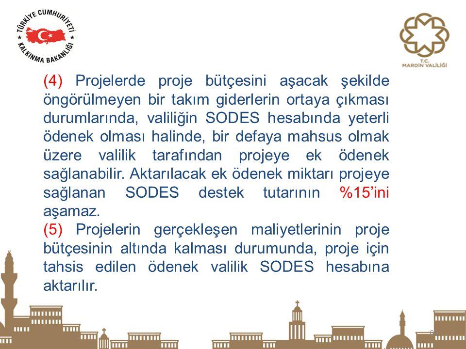 60 (4) Projelerde proje bütçesini aşacak şekilde öngörülmeyen bir takım giderlerin ortaya çıkması durumlarında, valiliğin SODES hesabında yeterli öden