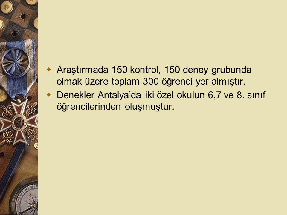  Araştırmada 150 kontrol, 150 deney grubunda olmak üzere toplam 300 öğrenci yer almıştır.  Denekler Antalya'da iki özel okulun 6,7 ve 8. sınıf öğren