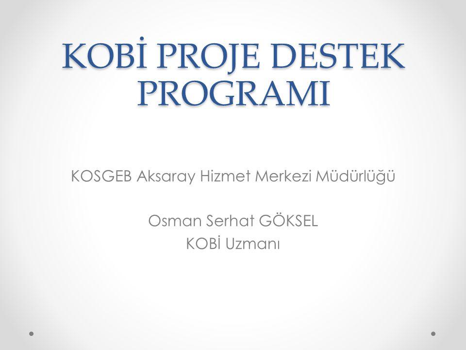 KOBİ Proje destek Programı küçük ve orta ölçekli işletmelerde proje kültürünün oluşturulması, işletmelerin proje yapabilme kapasitelerinin geliştirilmesi suretiyle ulusal ve uluslararası rekabet güçlerinin ve ülke ekonomisine sağladıkları katma değerinin artırılması amacı ile hazırlayacakları projelerin desteklenmesi için oluşturulmuş bir programdır.