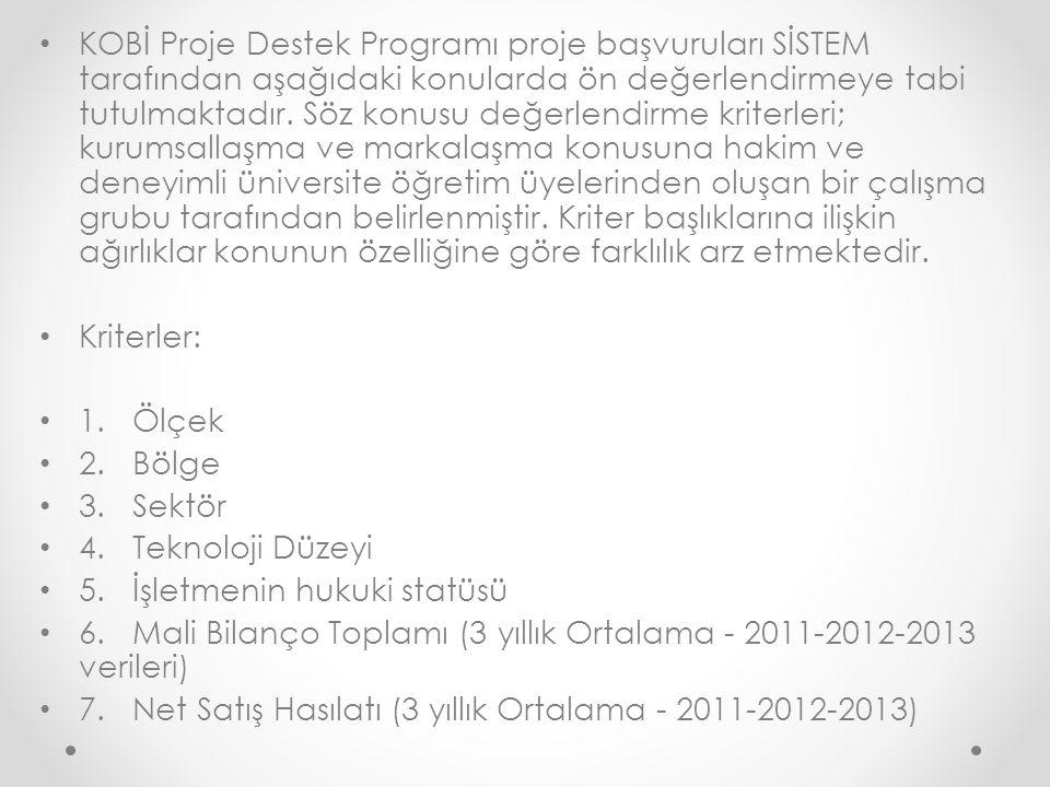 KOBİ Proje Destek Programı proje başvuruları SİSTEM tarafından aşağıdaki konularda ön değerlendirmeye tabi tutulmaktadır. Söz konusu değerlendirme kri