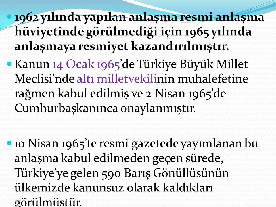 1962 yılında yapılan anlaşma resmi anlaşma hüviyetinde görülmediği için 1965 yılında anlaşmaya resmiyet kazandırılmıştır. Kanun 14 Ocak 1965'de Türkiy