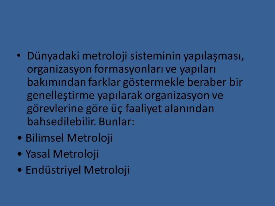 Dünyadaki metroloji sisteminin yapılaşması, organizasyon formasyonları ve yapıları bakımından farklar göstermekle beraber bir genelleştirme yapılarak