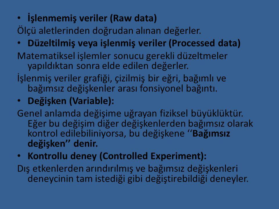 İşlenmemiş veriler (Raw data) Ölçü aletlerinden doğrudan alınan değerler. Düzeltilmiş veya işlenmiş veriler (Processed data) Matematiksel işlemler son
