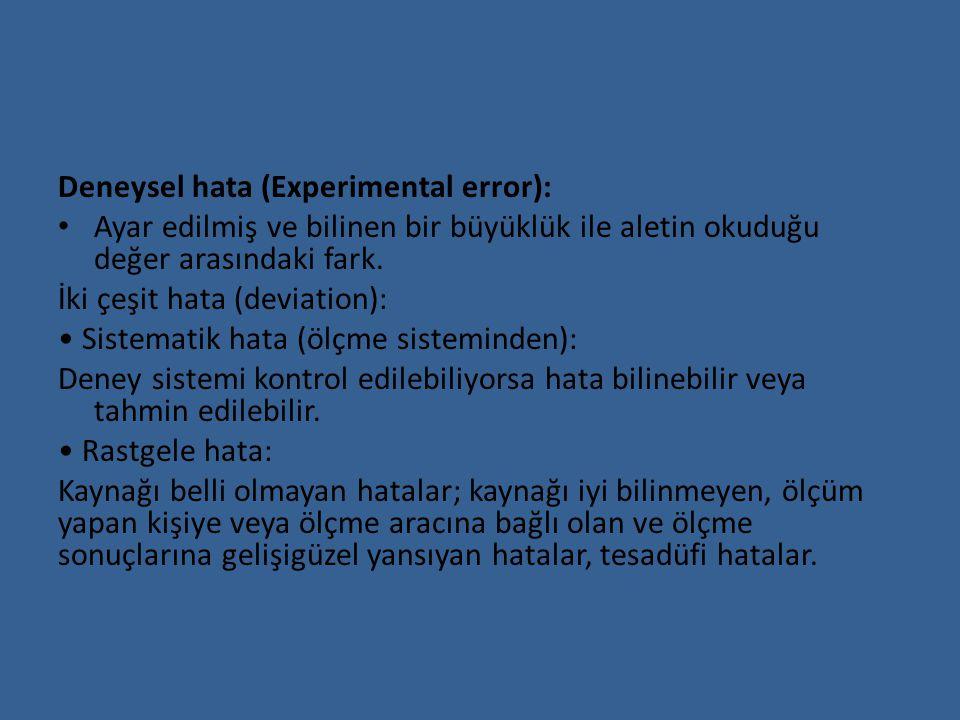 Deneysel hata (Experimental error): Ayar edilmiş ve bilinen bir büyüklük ile aletin okuduğu değer arasındaki fark. İki çeşit hata (deviation): Sistema