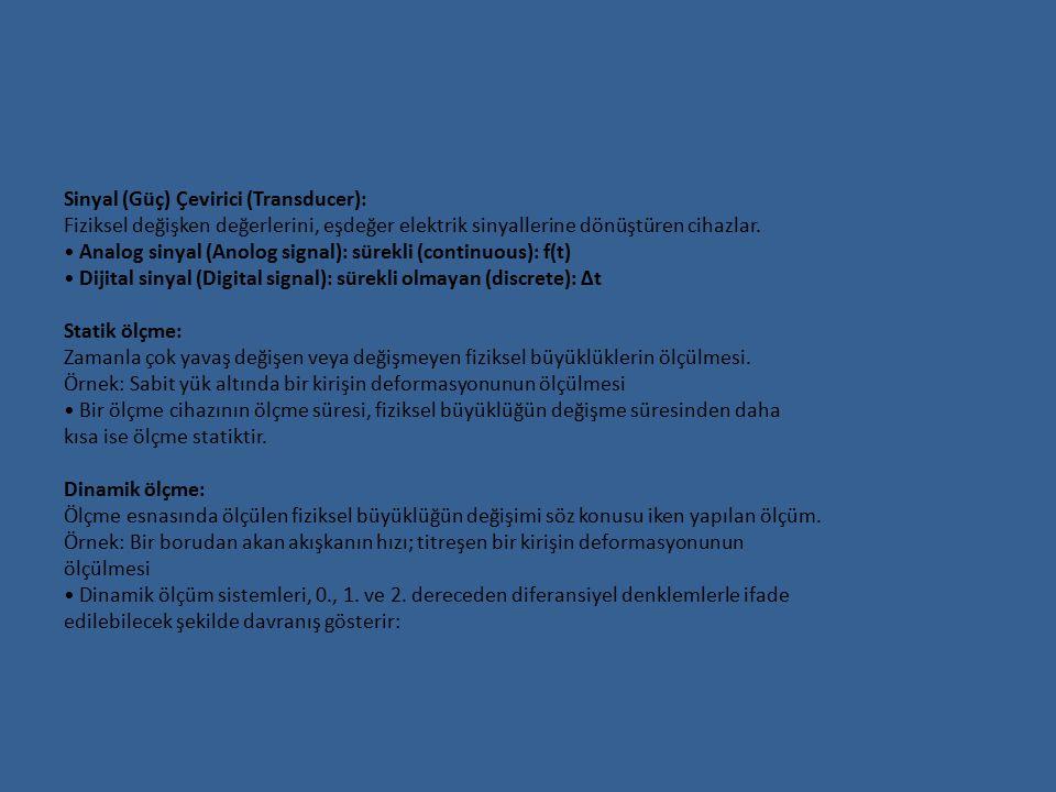 Sinyal (Güç) Çevirici (Transducer): Fiziksel değişken değerlerini, eşdeğer elektrik sinyallerine dönüştüren cihazlar. Analog sinyal (Anolog signal): s