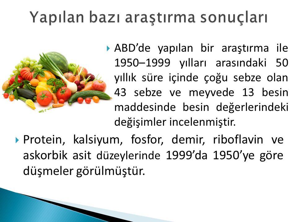  Örneğin ıspanakta askorbik asitte (C vitamini) düşme oranı %52'dir.
